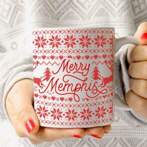 Merry Memphis Sweater Mug Christmas Red on White
